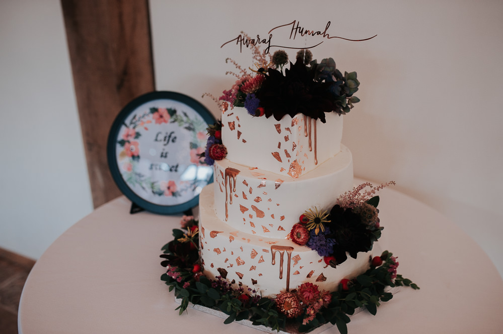 Cake Geometric Copper Wire Art Topper Swancar Farm Country House Wedding Maree Frances Photography