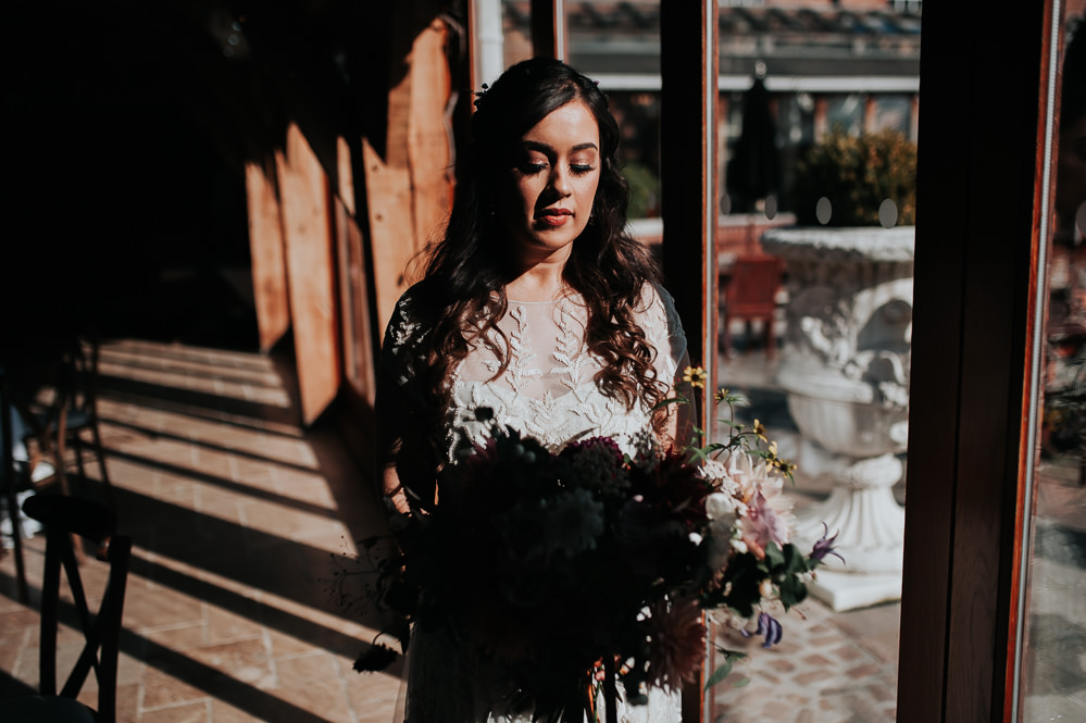 Bride Bridal Dress Gown Phase Eight Embroidered Bouquet Swancar Farm Country House Wedding Maree Frances Photography