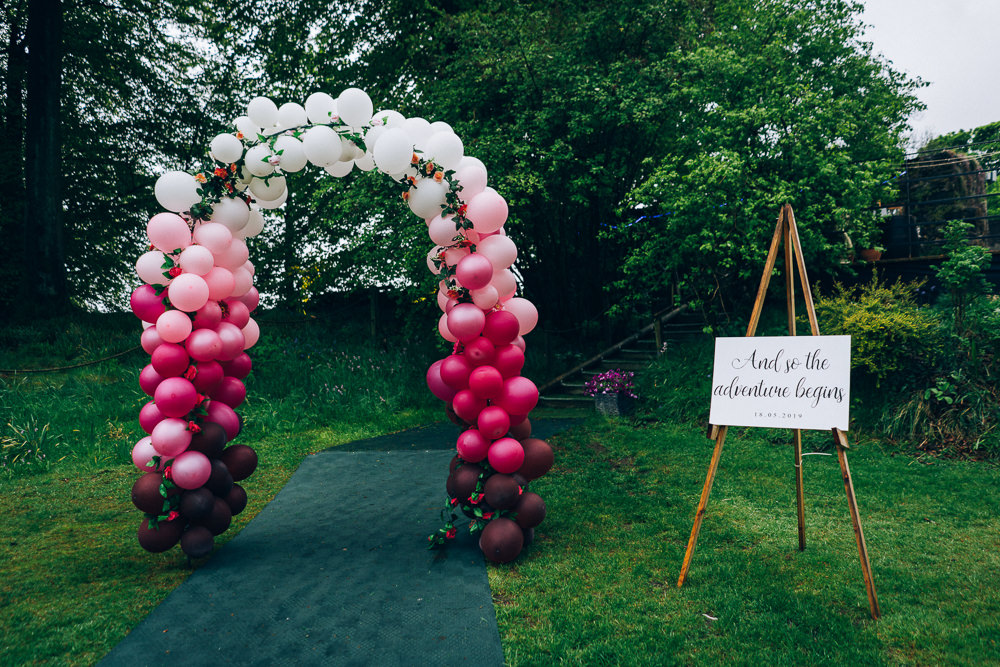 Balloon Arch Welcome Sign Tullibole Castle Wedding Casey Avenue Photography