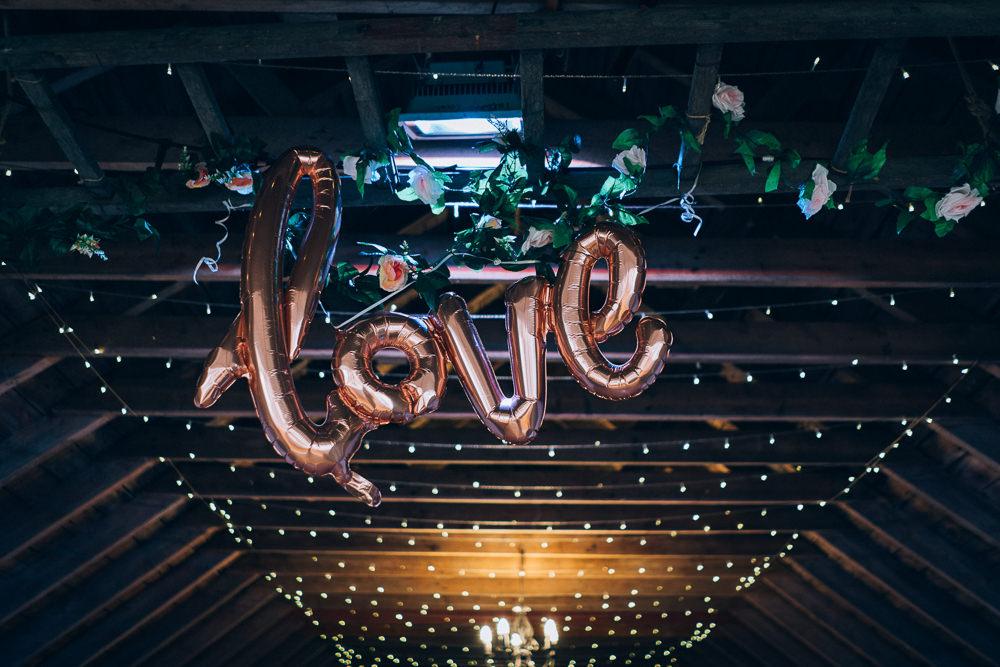 LOVE Balloons Tullibole Castle Wedding Casey Avenue Photography
