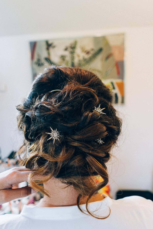 Bride Bridal Hair Style Up Do Star Pins Celestial Tullibole Castle Wedding Casey Avenue Photography