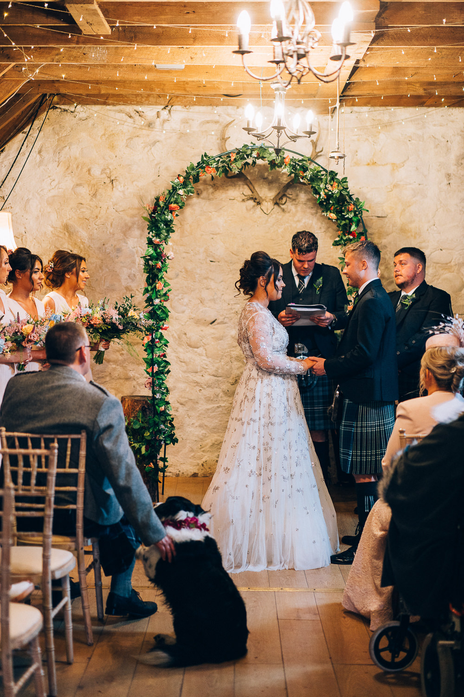 Flower Arch Ceremony Aisle Tullibole Castle Wedding Casey Avenue Photography
