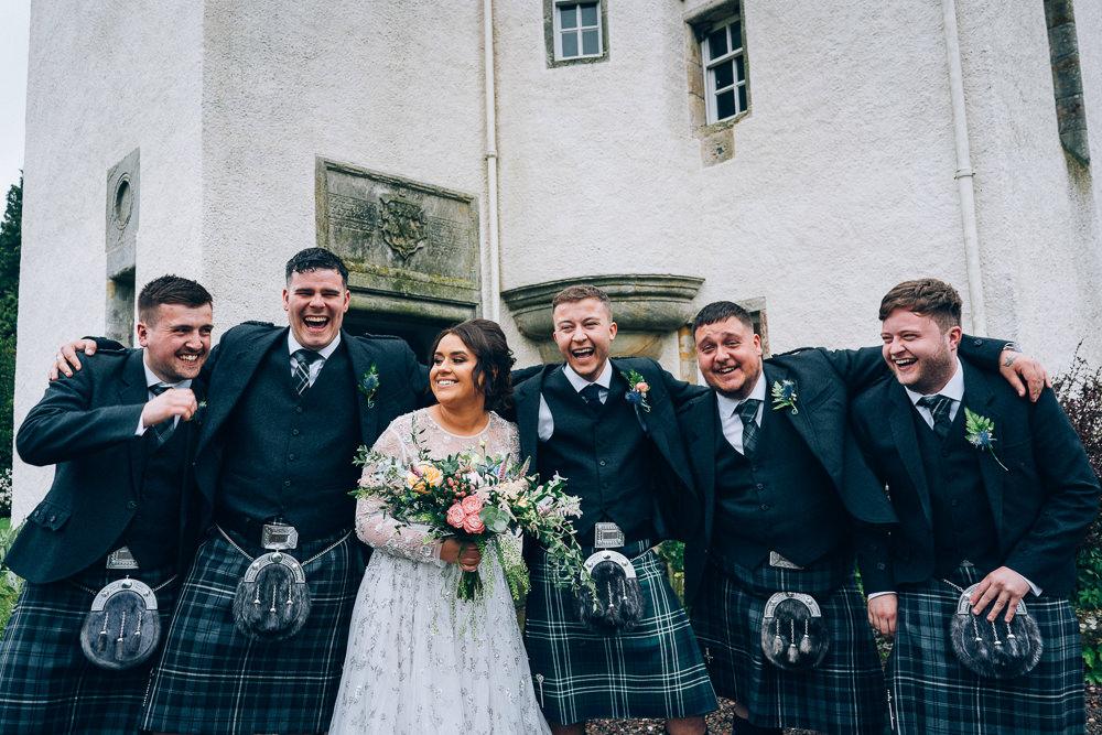 Groom Groomsmen Kilt Tullibole Castle Wedding Casey Avenue Photography