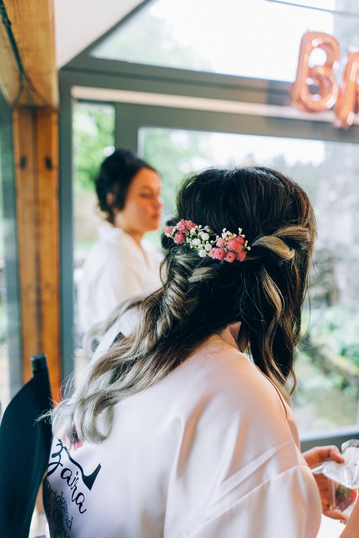 Bridesmaid Hair Style Up Do Flowers Tullibole Castle Wedding Casey Avenue Photography