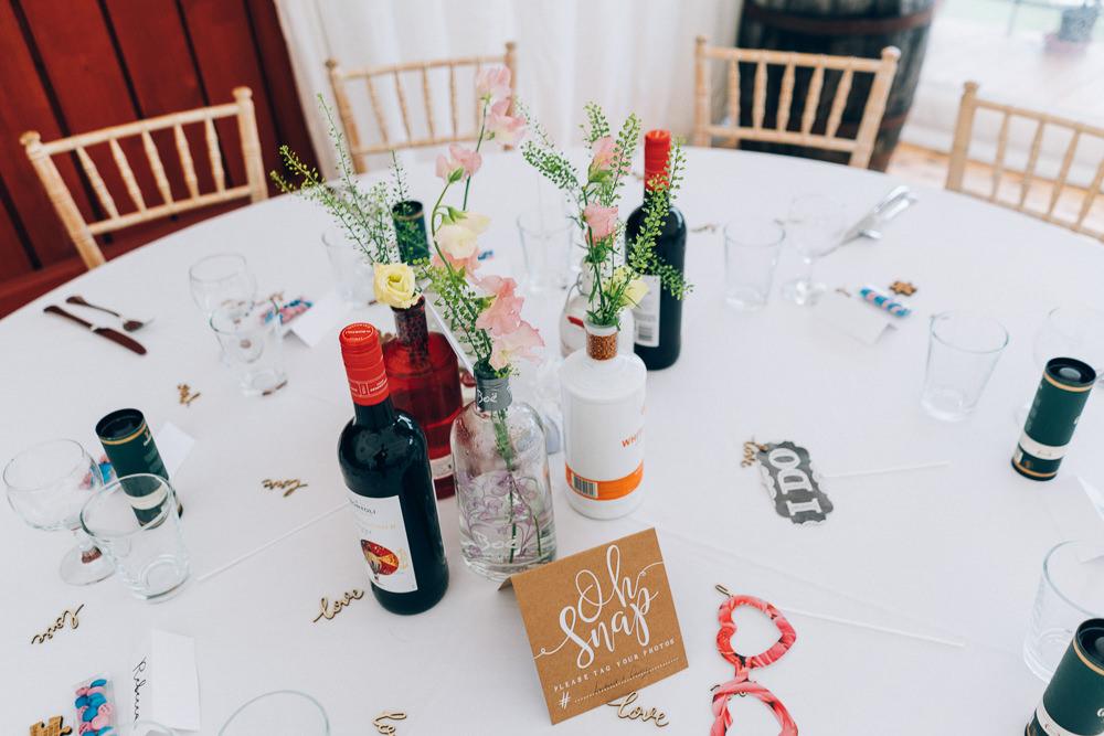Table Flowers Centrepiece Tullibole Castle Wedding Casey Avenue Photography