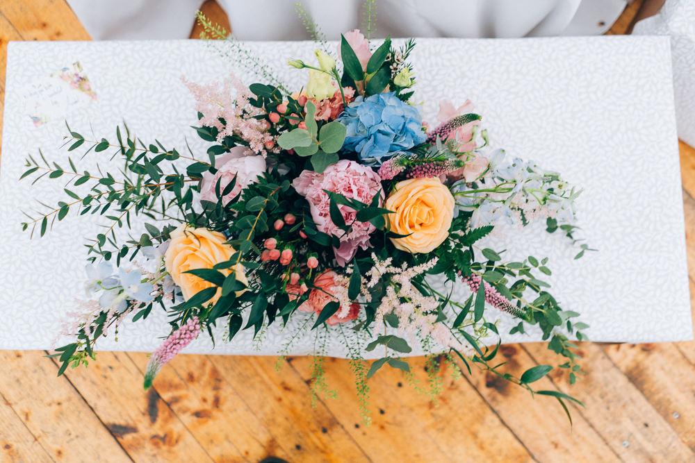 Flower Arrangement Ceremony Table Colourful Rose Astilbe Tullibole Castle Wedding Casey Avenue Photography