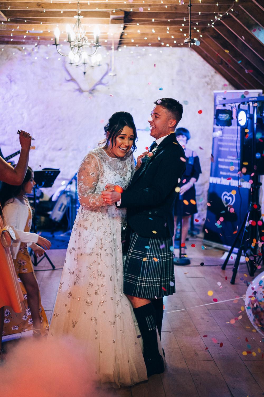 Confetti Cannon First Dance Tullibole Castle Wedding Casey Avenue Photography