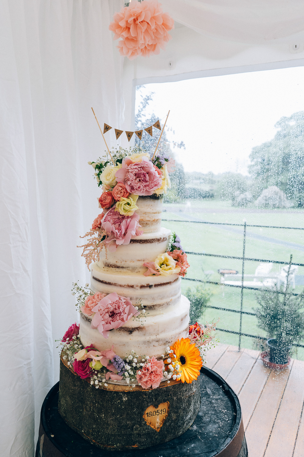 Semi Naked Cake Tall Flowers Floral Bunting Topper Tullibole Castle Wedding Casey Avenue Photography