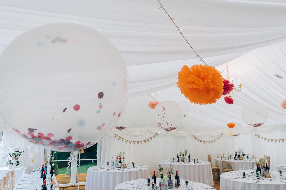 Marquee Pom Poms Fairy Lights Confetti Balloons Tullibole Castle Wedding Casey Avenue Photography