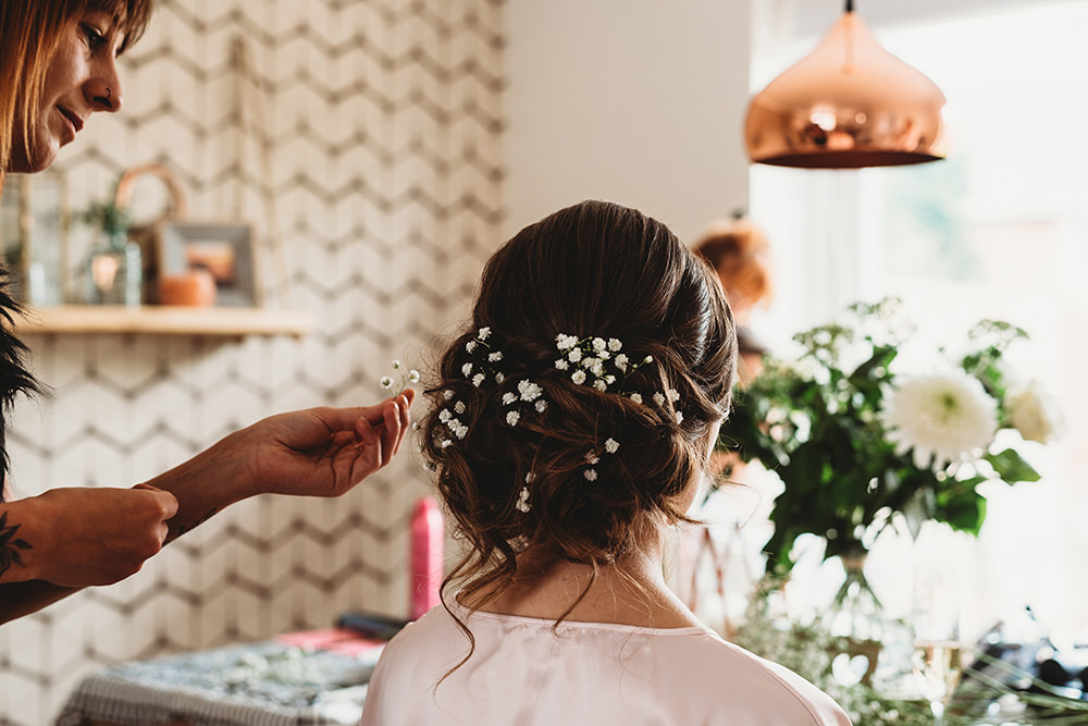 Bride Bridal Hair Style Up Do Flowers Whinstone View Wedding Emma Adamson Photography