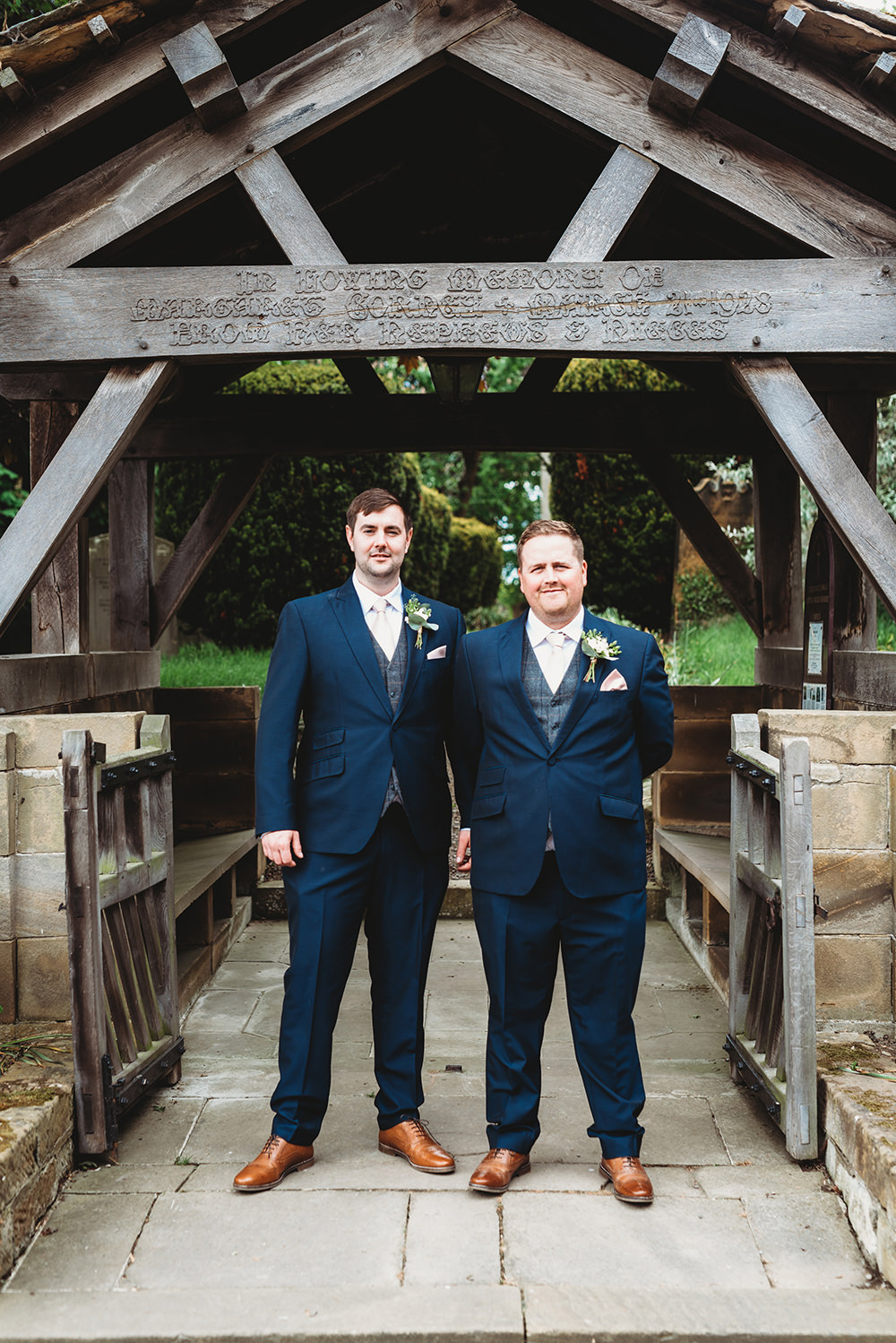 Groom Groomsmen Suit Grey Tweed Waistcoat Blue Tan Shoes Whinstone View Wedding Emma Adamson Photography