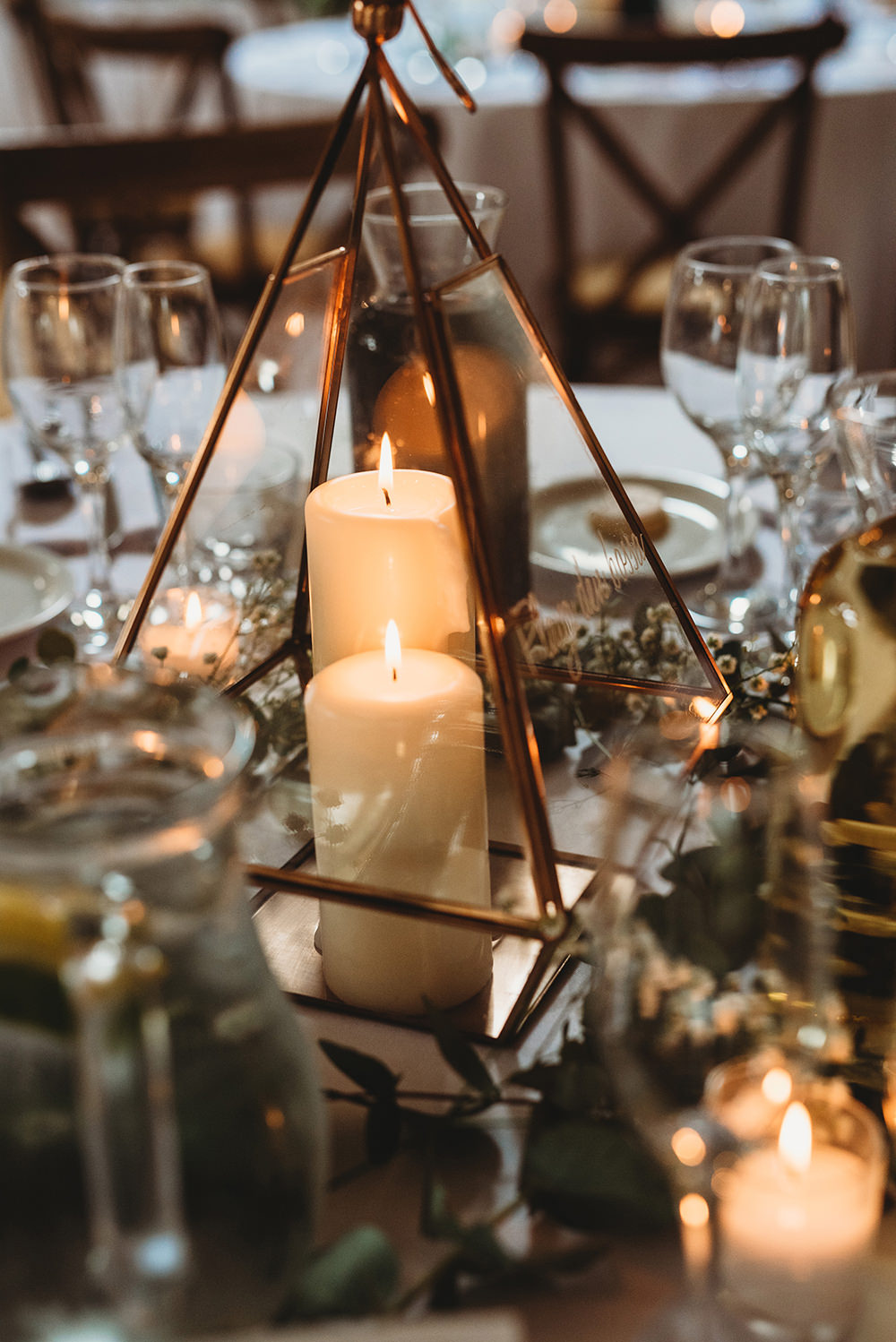 Terrarium Candles Centrepiece Table Whinstone View Wedding Emma Adamson Photography
