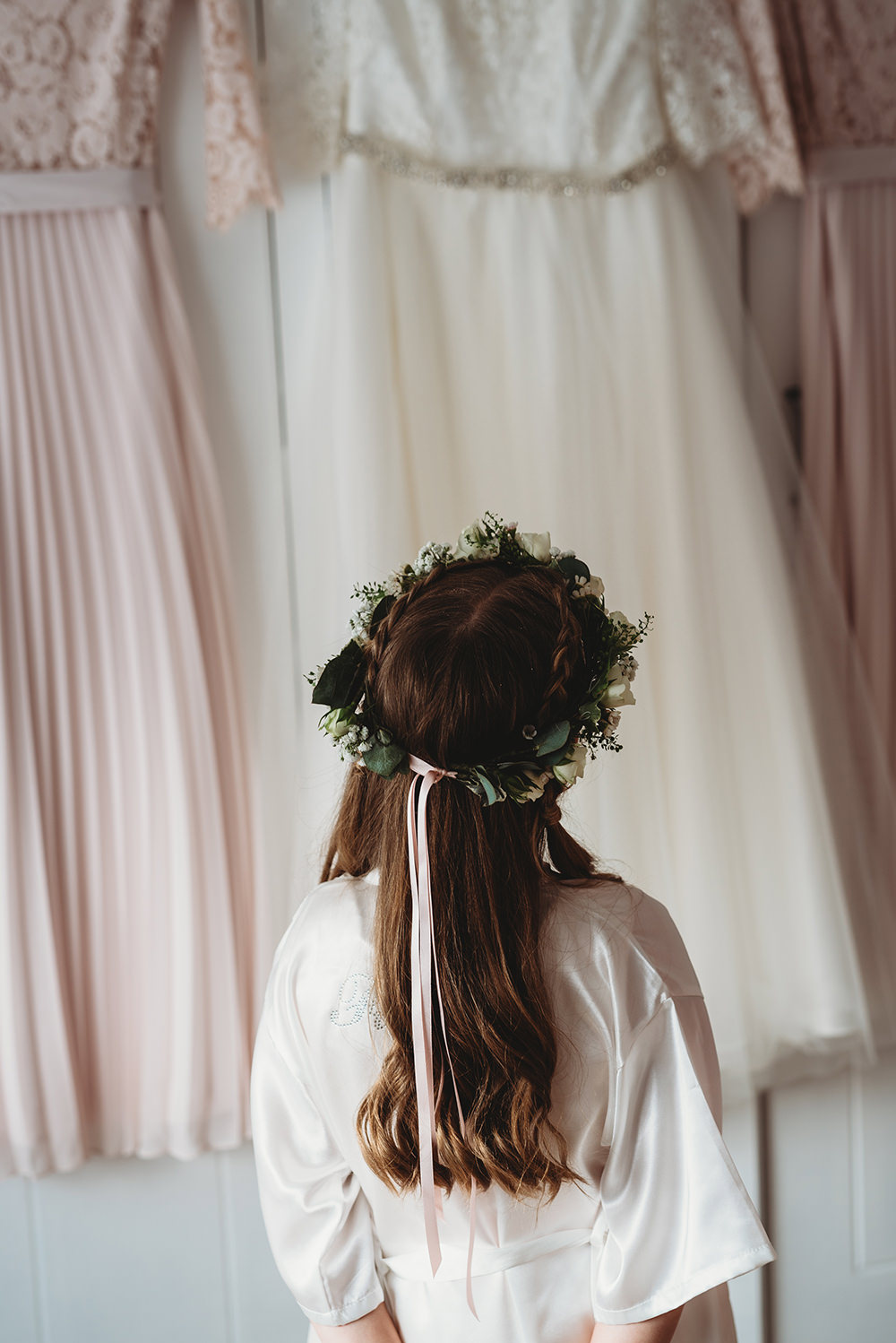 Flower Girl Flower Crown Hair Whinstone View Wedding Emma Adamson Photography