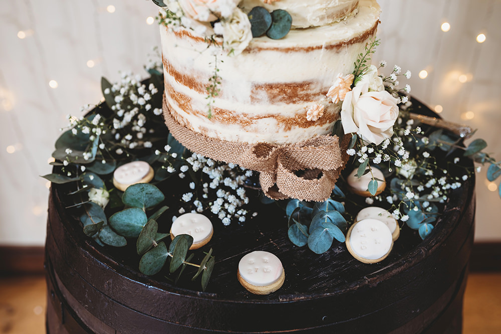Semi Maked Cake Flowers Greenery Foliage Whinstone View Wedding Emma Adamson Photography