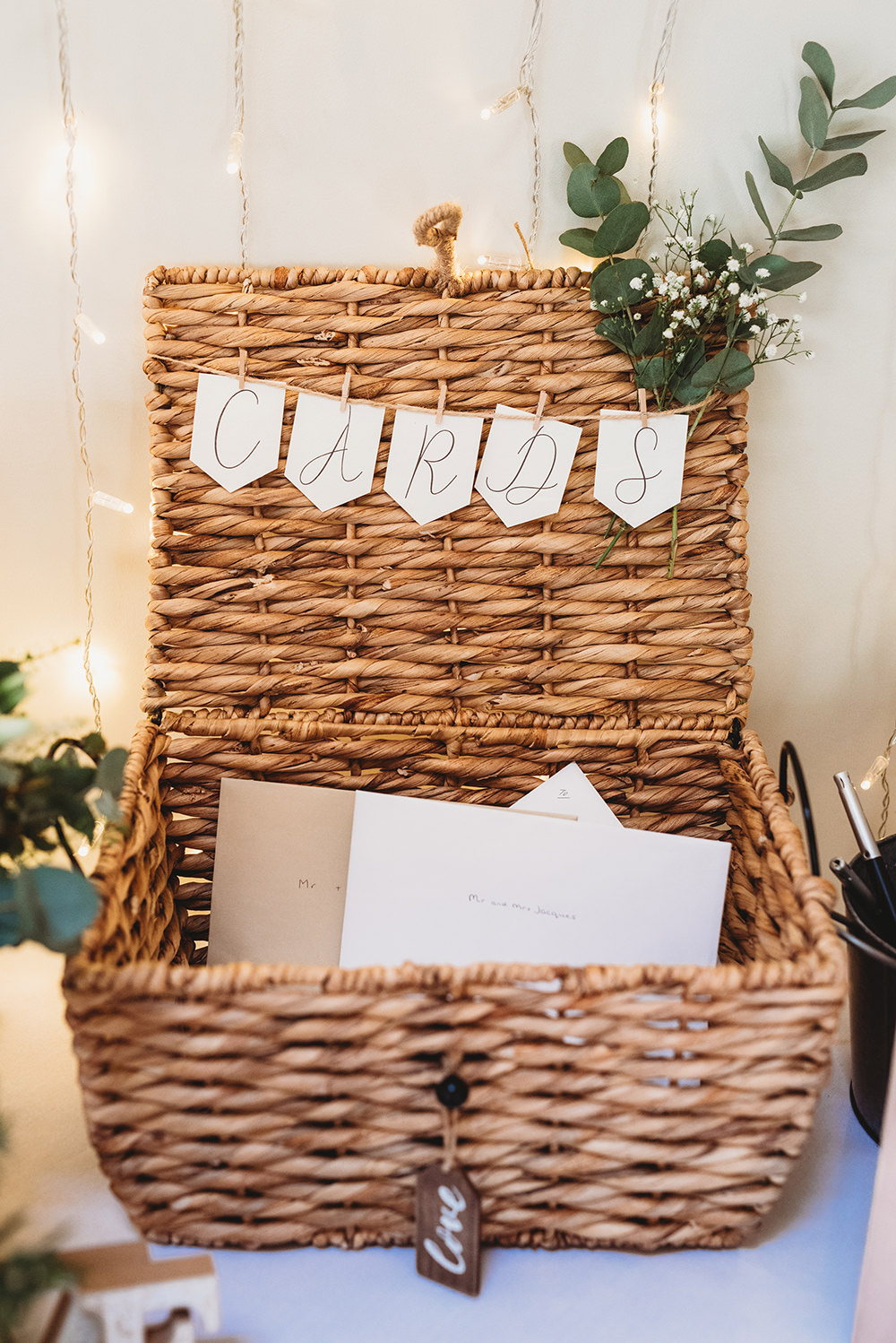 Card Basket Hamper Whinstone View Wedding Emma Adamson Photography
