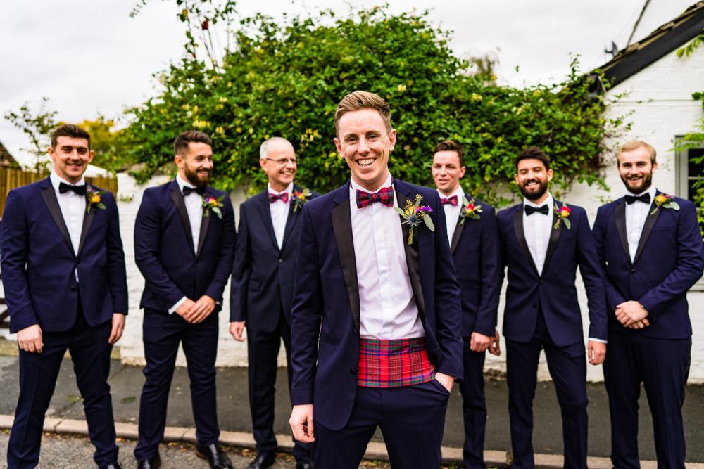 Groom Groomsmen Suits Tartan Bow Tie Anstey Hall Wedding Jonny Barratt Photography