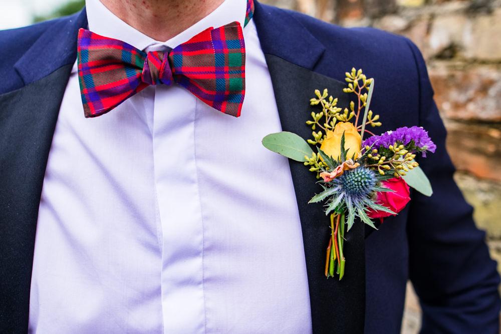 Groom Groomsmen Suits Tartan Bow Tie Buttonhole Anstey Hall Wedding Jonny Barratt Photography