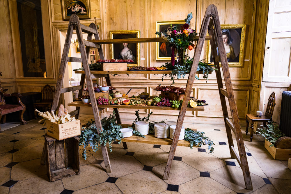 Wooden Ladder Shelf Grazing Platter Sharing Board Food Anstey Hall Wedding Jonny Barratt Photography