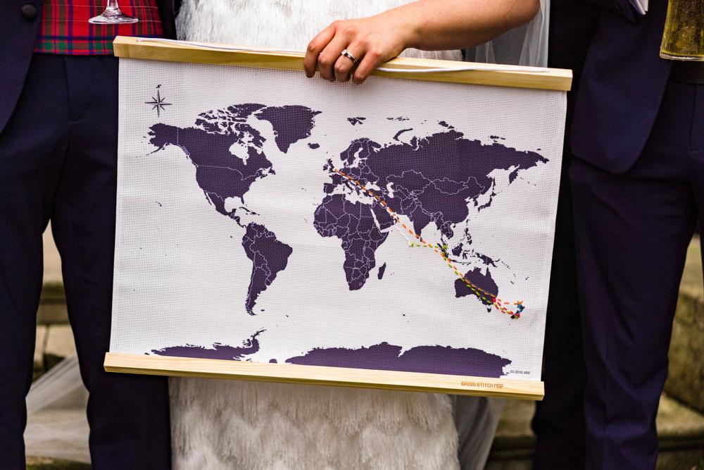 Map Travel Guest Book Anstey Hall Wedding Jonny Barratt Photography
