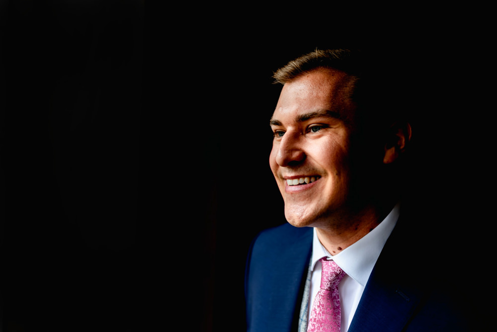 Groom Suit Blue Pink Tie Avoncroft Museum Wedding Lisa Carpenter Photography