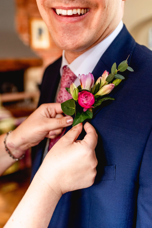 Groom Buttonhole Flowers Pink Avoncroft Museum Wedding Lisa Carpenter Photography