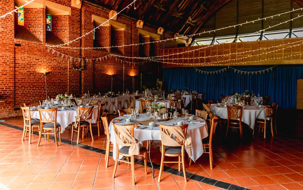 Barn Fairy Lights Round Tables Avoncroft Museum Wedding Lisa Carpenter Photography
