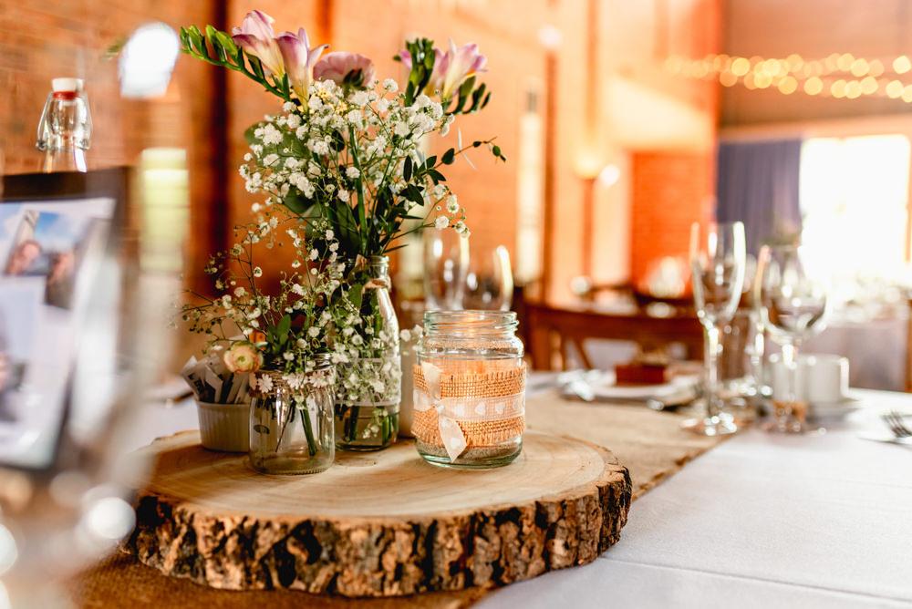 Centrepiece Log Slice Flowers Candles Avoncroft Museum Wedding Lisa Carpenter Photography