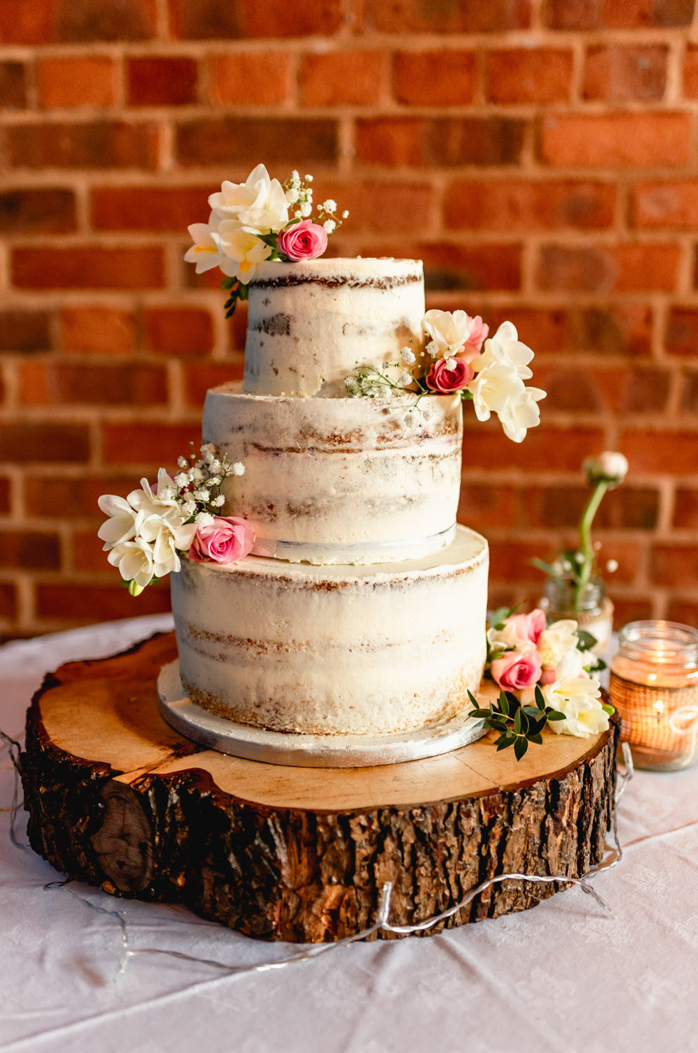Semi Naked Cake Log Slice Cake Stand Avoncroft Museum Wedding Lisa Carpenter Photography