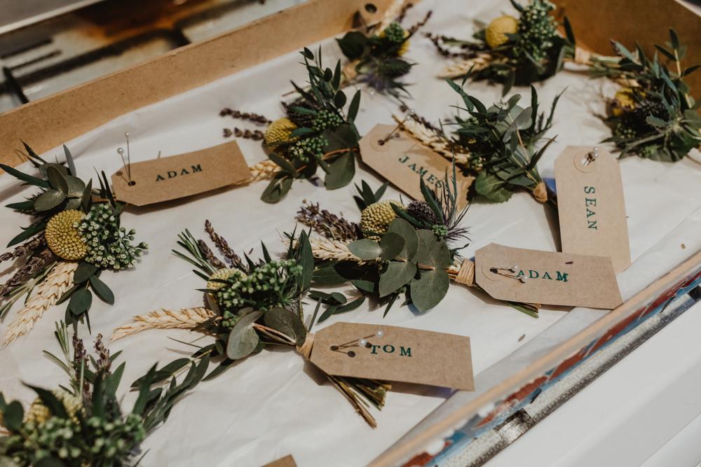 Buttonhole Flowers Barns Lodge Farm Wedding Stevie Jay Photography