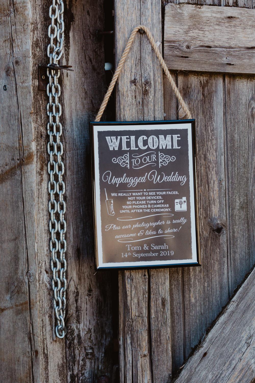 Unplugged Ceremony Sign Barns Lodge Farm Wedding Stevie Jay Photography