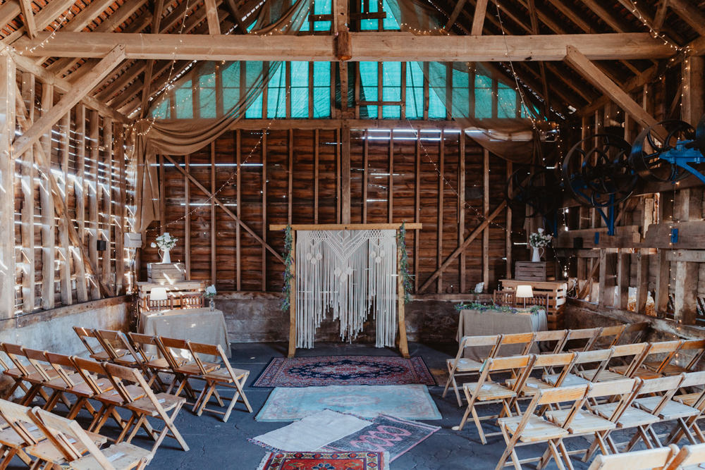 Ceremony Persian Rug Aisle Macrame Backdrop Barns Lodge Farm Wedding Stevie Jay Photography