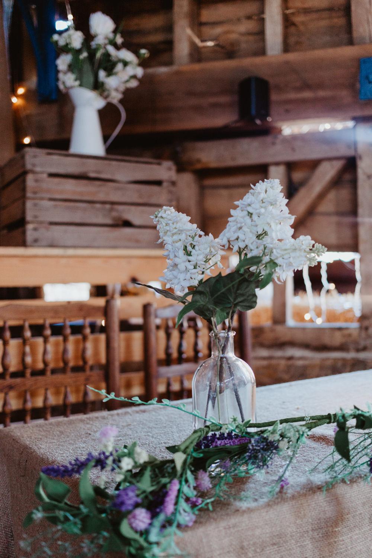 Table Flowers Bottle Barns Lodge Farm Wedding Stevie Jay Photography