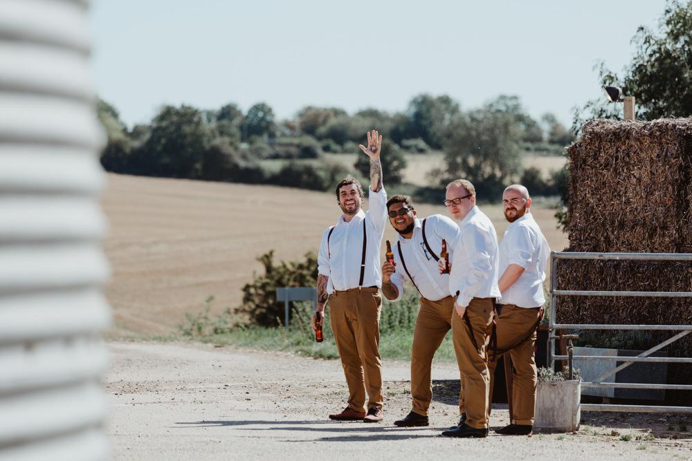 Groom Groomsmen Chinos Braces Shirts Barns Lodge Farm Wedding Stevie Jay Photography