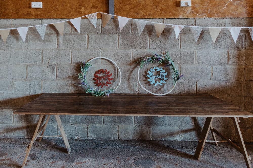 Hoop Wreath Sign Barns Lodge Farm Wedding Stevie Jay Photography
