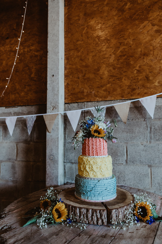Buttercream Cake Pastel Flowers Barns Lodge Farm Wedding Stevie Jay Photography