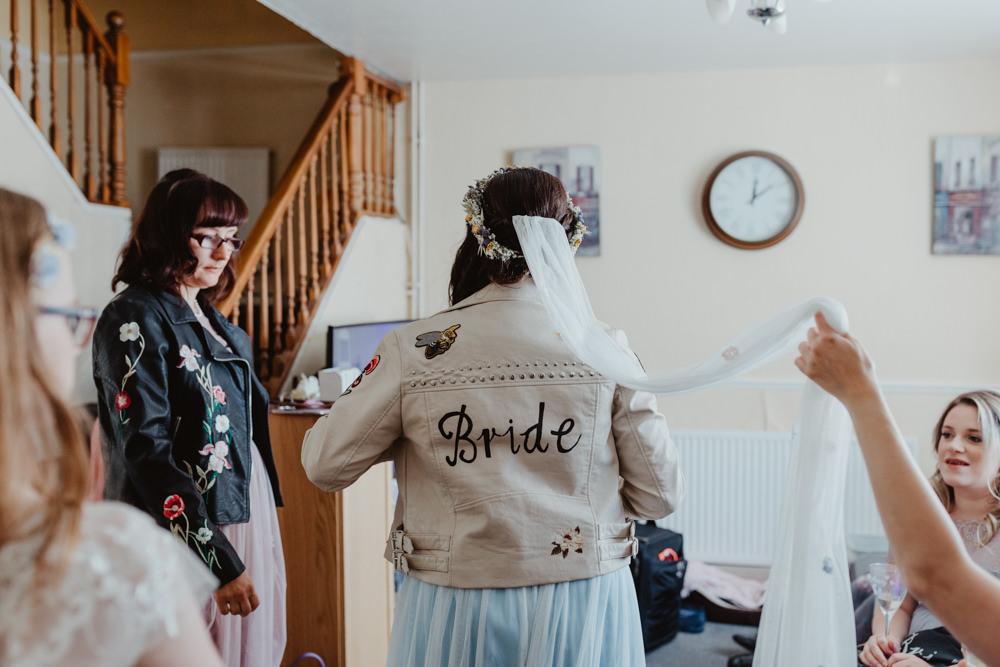 Bride Bridal Leather Jacket Painted Accessory Barns Lodge Farm Wedding Stevie Jay Photography