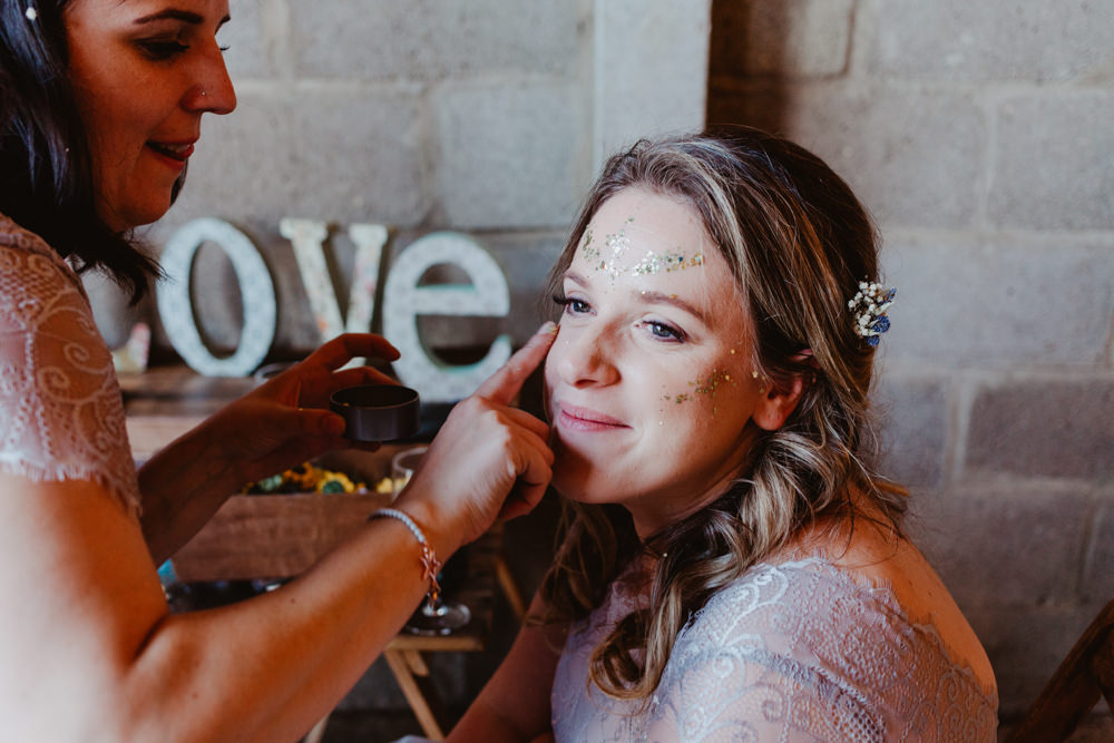 Glitter Make Up Barns Lodge Farm Wedding Stevie Jay Photography