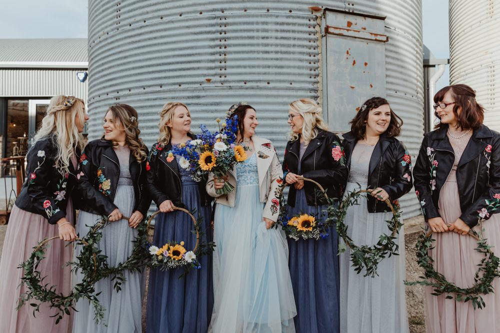Hoop Wreaths Bouquet Bridesmaid Bridesmaids Dress Dresses Mismatched Blue Pink Barns Lodge Farm Wedding Stevie Jay Photography
