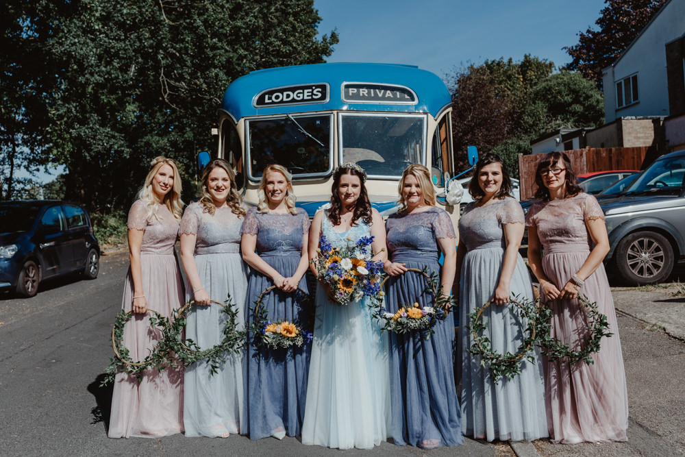 Bridesmaid Bridesmaids Dress Dresses Mismatched Blue Pink Barns Lodge Farm Wedding Stevie Jay Photography