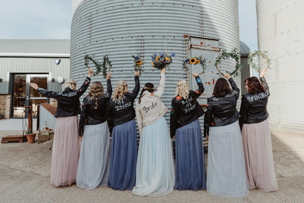 Bride Bridal Leather Jacket Painted Accessory Bridesmaids Barns Lodge Farm Wedding Stevie Jay Photography