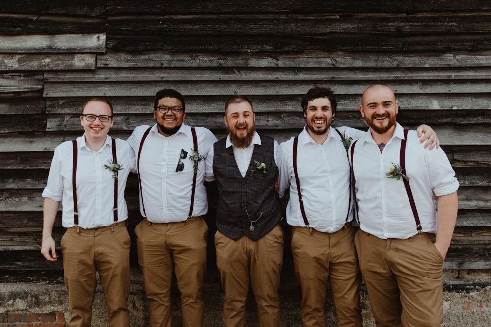 Groom Groomsmen Chinos Braces Shirts Waistcoat Barns Lodge Farm Wedding Stevie Jay Photography