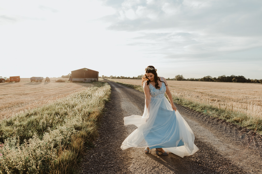 Bride Bridal Dress Gown Blue Lucy Cant Dance Lace Tulle Barns Lodge Farm Wedding Stevie Jay Photography
