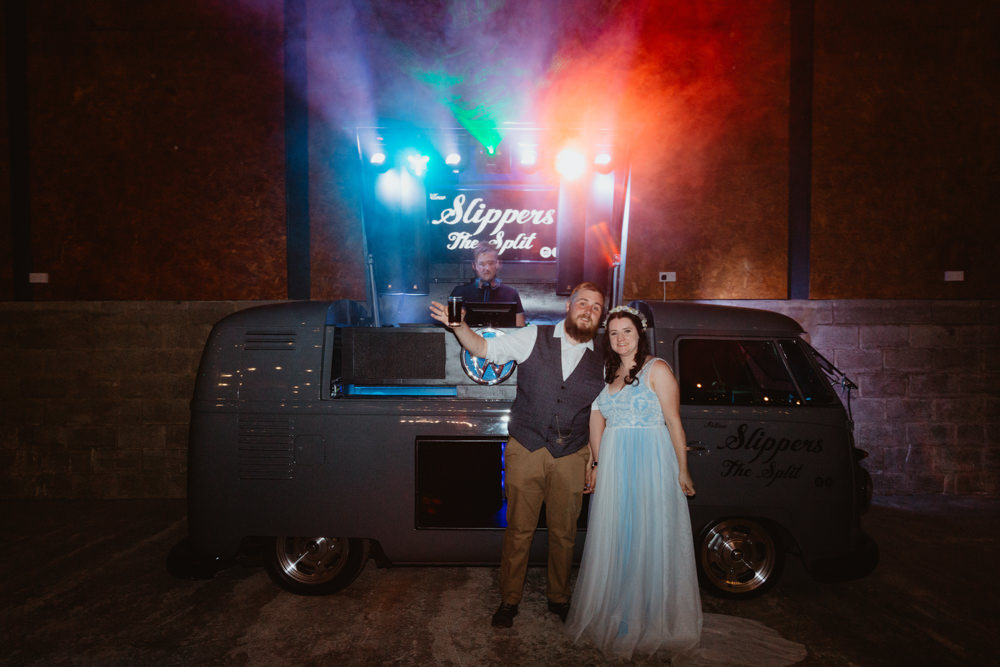 VW Campervan Disco DJ Barns Lodge Farm Wedding Stevie Jay Photography