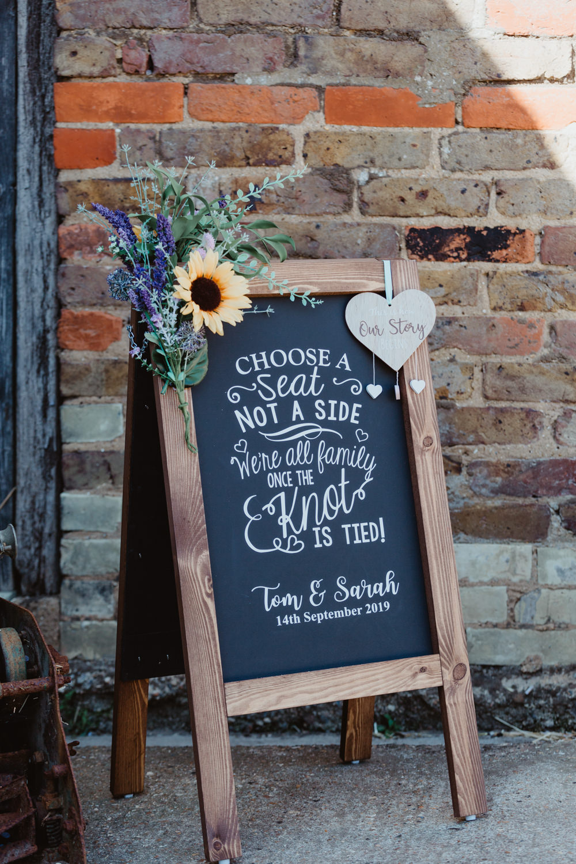 Ceremony Sign Black Board Chalk Barns Lodge Farm Wedding Stevie Jay Photography