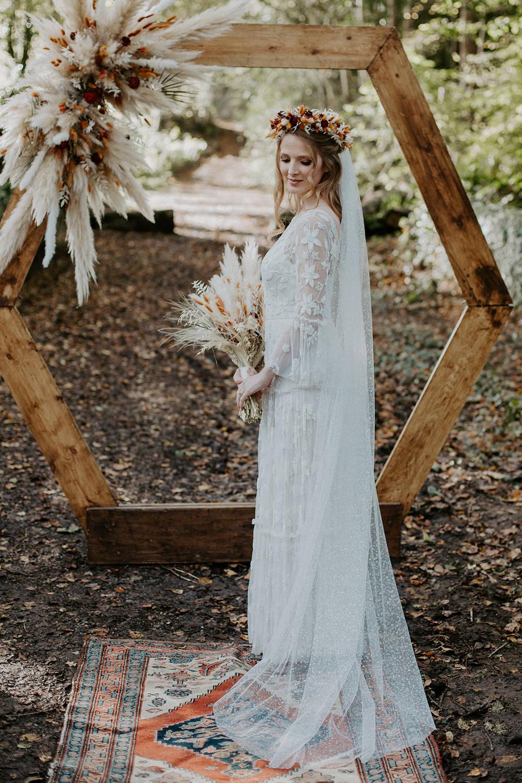 Boho Wedding Ideas The Enlight Project Dress Gown Bride Bridal Lace Veil Tier Long Sleeves Bohemian