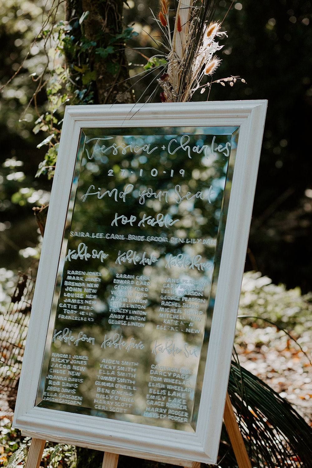 Mirror Frame Calligraphy Table Plan Seating Chart Boho Wedding Ideas The Enlight Project