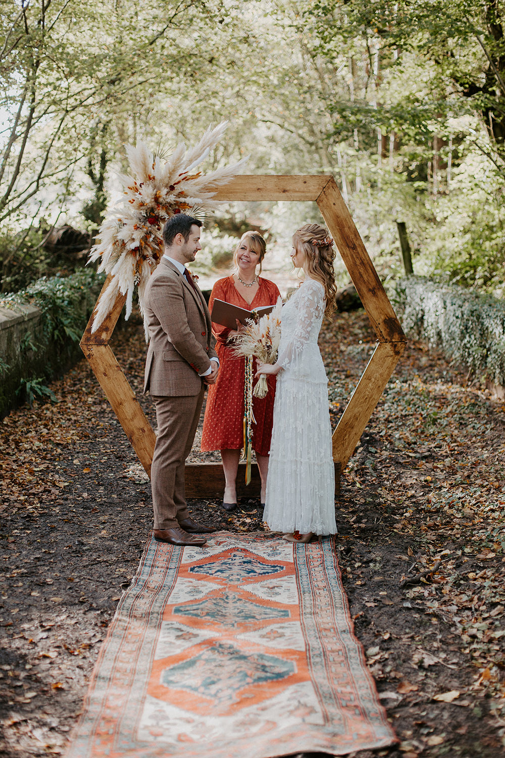 Hexagon Wooden Frame Backdrop Ceremony Arch Pampas Grass Autumn Woodland Boho Wedding Ideas The Enlight Project