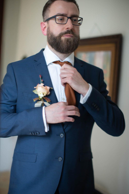 Groom Suit Blue Bronze Tie Château Elopement France Maru Photography