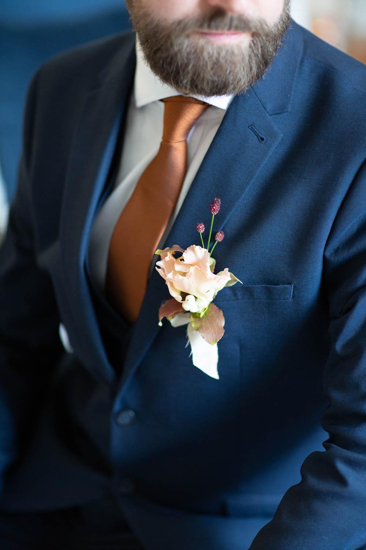 Groom Suit Blue Bronze Tie Buttonhole Flowers Château Elopement France Maru Photography