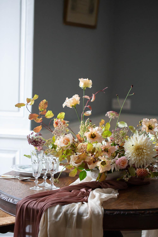 Tabke Flowers Centrepiece Peach Cream Coral Dahlia Château Elopement France Maru Photography